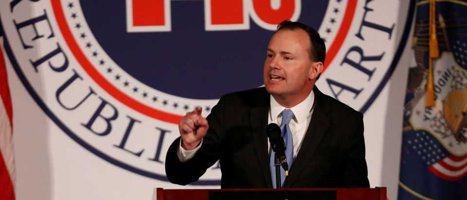 U.S. Senator Mike Lee (R-UT) speaks at the Utah County Republican Party Lincoln Day Dinner, in Provo, Utah, U.S. February 16, 2018. REUTERS/Jim Urquhart