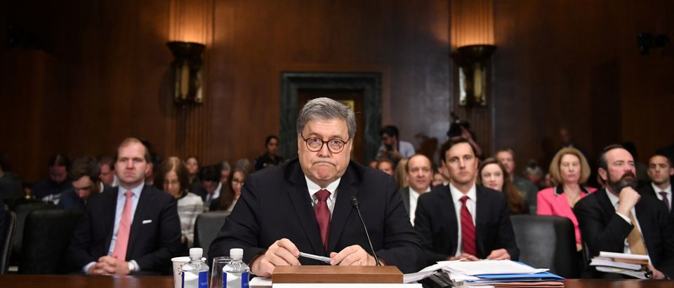 """U.S. Attorney General William Barr testifies before a Senate Judiciary Committee hearing on """"The Justice Department's investigation of Russian interference with the 2016 presidential election"""" on Capitol Hill in Washington, D.C., U.S., May 1, 2019. REUTERS/Clodagh Kilcoyne"""