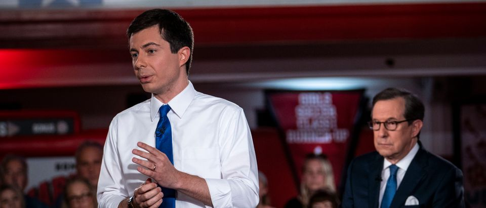 South Bend, Indiana, Mayor Pete Buttigieg speaks during a town hall with Fox News Channel on May 18, 2019 in Claremont, New Hampshire. Buttigieg, one of 23 Democrats seeking the 2020 presidential nomination, pitched four distinct tax hikes at the event when asked about the deficit. (Photo by Sarah Rice/Getty Images)