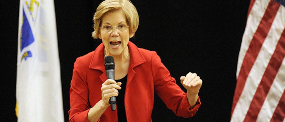 U.S. Sen. Elizabeth Warren addresses a town hall meeting in Roxbury, Massachusetts, Oct. 13, 2018. (Photo: JOSEPH PREZIOSO/AFP/Getty Images)