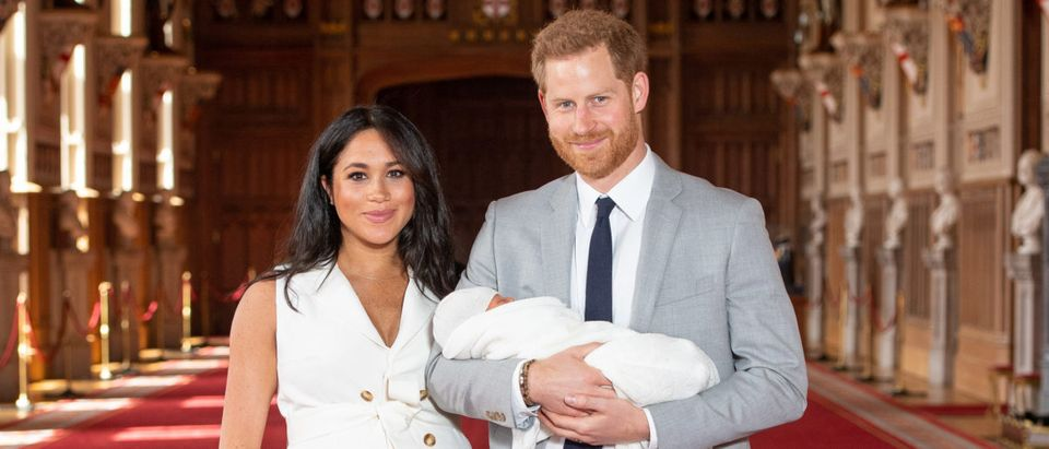 The Duke and Duchess Of Sussex Pose With Their Newborn Son