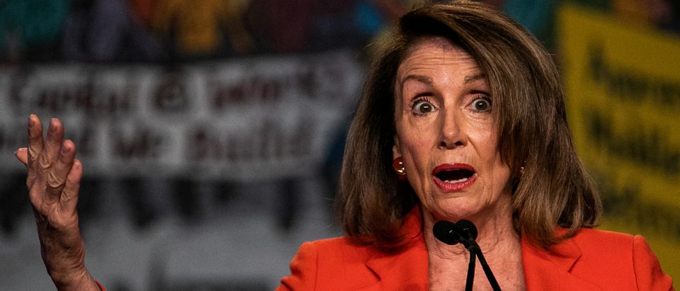 House Speaker Nancy Pelosi (D-CA) addresses the North America's Building Trades Unions (NABTU) 2019 legislative conference in Washington, U.S., April 9, 2019. REUTERS/Jeenah Moon.