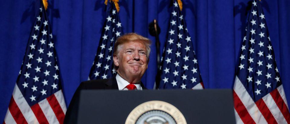 U.S. President Donald Trump speaks at the National Association of Realtors' Legislative Meetings & Trade Expo in Washington, U.S., May 17, 2019. REUTERS/Carlos Barria
