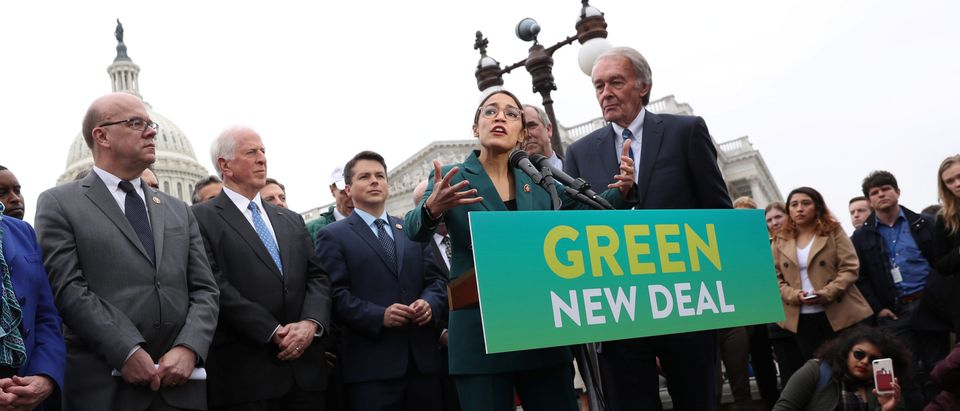 "U.S. Representative Alexandria Ocasio-Cortez (D-NY) and Senator Ed Markey (D-MA) hold a news conference for their proposed ""Green New Deal"" to achieve net-zero greenhouse gas emissions in 10 years, at the U.S. Capitol in Washington, U.S. February 7, 2019. REUTERS/Jonathan Ernst."