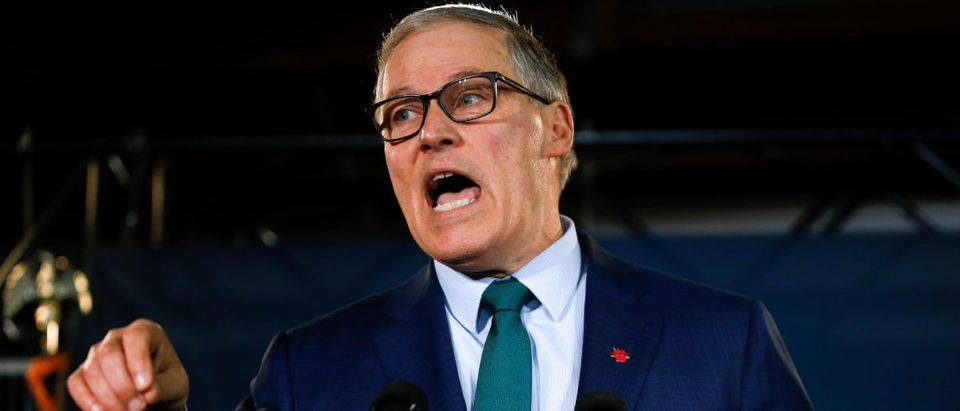 Washington state Gov. Jay Inslee speaks during a news conference to announce his decision to seek the Democratic Party's nomination for president in 2020 in Seattle, Washington, U.S., March 1, 2019. REUTERS/Lindsey Wasson