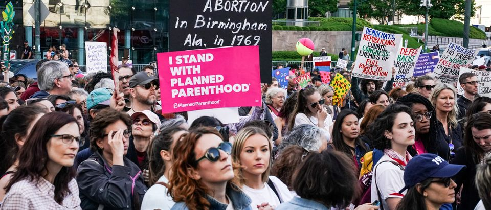 Pro-choice campaigners attend a rally in New York
