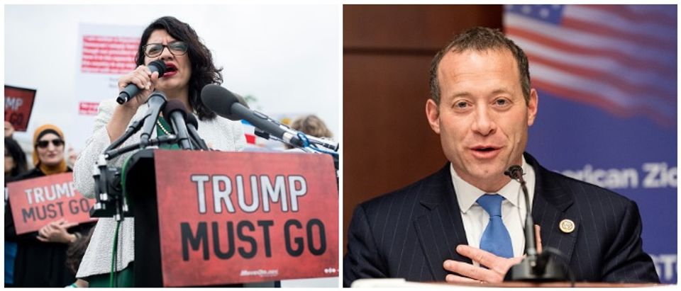 Rashida Tlaib and Josh Gottheimer (LEFT: Mark Wilson/Getty Images RIGHT: Michael Brochstein/SOPA Images/LightRocket via Getty Images)