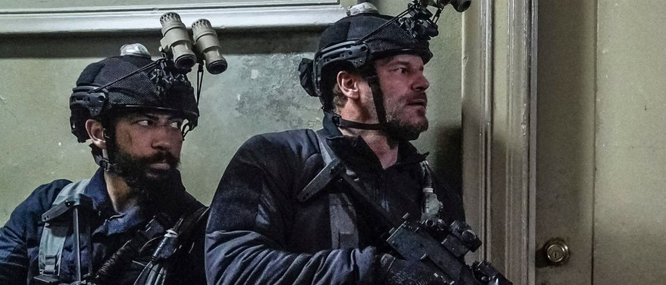 """Never Out of the Fight"" -- Bravo team's future is on the line when Commander Shaw (Peter Jessop) recommends they be split up, but Jason's (David Boreanaz) unit has one final mission to prove him wrong., on the 2nd season finale of SEAL TEAM, Wednesday, May 22nd (10:00-11:00 PM, ET/PT) on the CBS Television Network. Pictured L to R: Neil Brown Jr. as Ray Perry, David Boreanaz as Jason Hayes, and Justin Melnick as Brock. Photo: Cliff Lipson/CBS ©2019 CBS Broadcasting, Inc. All Rights Reserved"