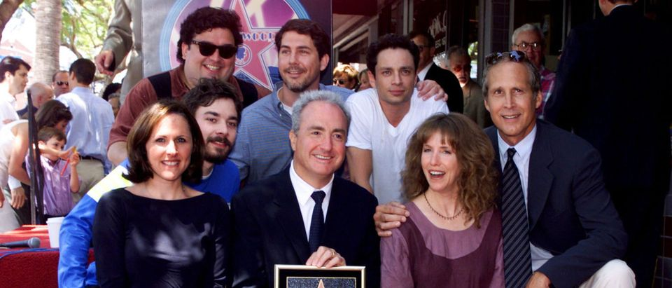 TV PRODUCER LORNE MICHAELS AND SNL CAST MEMBERS.