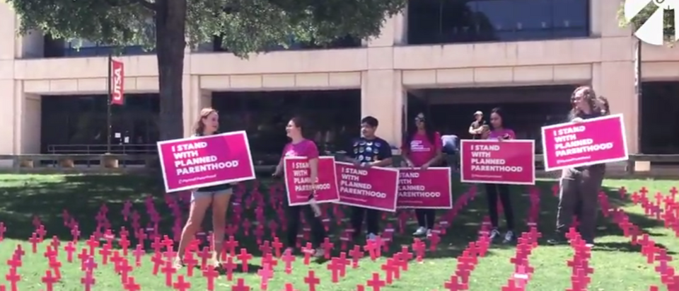 Planned Parenthood supporters at the University of Texas at San Antonio protested at a Students for Life symbolic cemetery for the unborn.r the unborn. (Screenshot/ YouTube/ Students for Life)