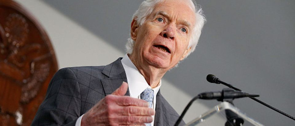 """WASHINGTON, DC - JUNE 14: U.S. Sen. Thad Cochran (R-MS) speaks at """"Making AIDS History: A Roadmap for Ending the Epidemic"""" at the Hart Senate Building on June 14, 2017 in Washington, DC. (Photo by Paul Morigi/Getty Images)"""