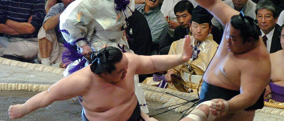 Yokozuna Asashoryu pushes ozeki Chiyotaikai out of the sumo ring to win the Summer Grand Sumo Tournament in Tokyo. Mongolia-born grand sumo champion Asashoryu pushes ozeki Chiyotaikai out of the sumo ring to win the match during the Summer Grand Sumo Tournament in Tokyo May 21, 2005. Asashoryu won his fourth consecutive title on Saturday with one day remaining in the tournament. JAPAN OUT REUTERS-YOMIURI/Nobuyuki Suzuki