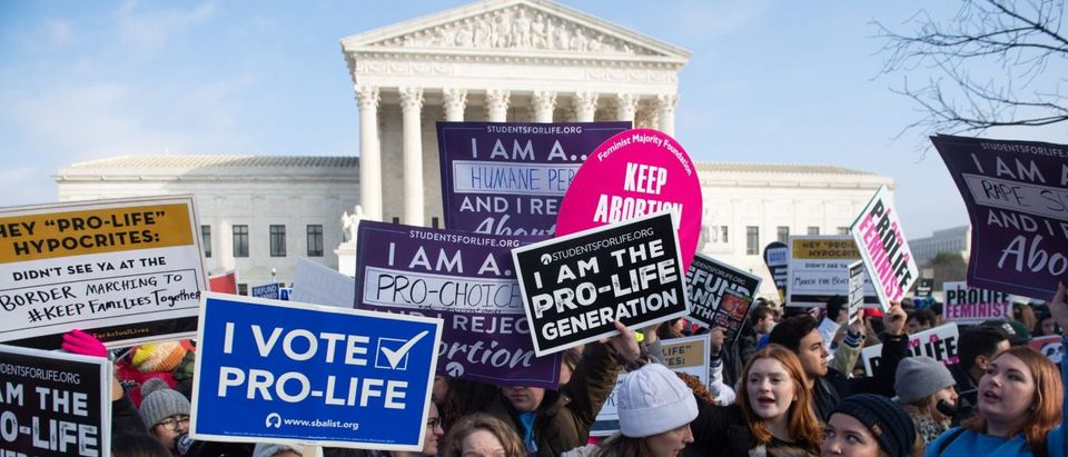 Activists picket during the March for Life, an annual event marking the 1973 Supreme Court decision in Roe v. Wade (Saul Loeb/AFP/Getty Images)