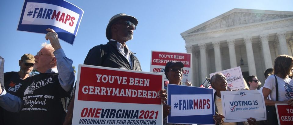 Demonstrators gather outside of the Supreme Court o call for an end to partisan gerrymandering on October 3, 2017. (Olivier Douliery/Getty Images)
