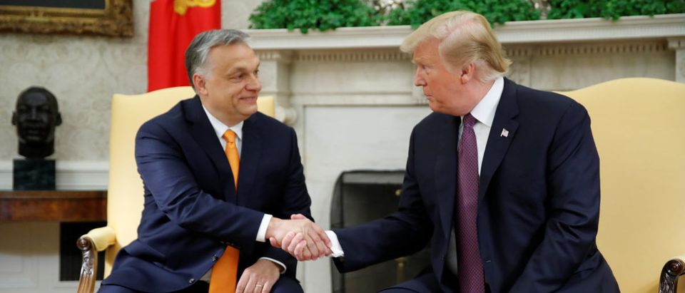 U.S. President Donald Trump greets Hungary's Prime Minister Viktor Orban in the Oval Office at the White House in Washington, U.S., May 13, 2019. REUTERS/Carlos Barria