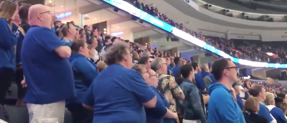 St. Louis Blues fans take over when national anthem video freezes. Screen Shot/NBC