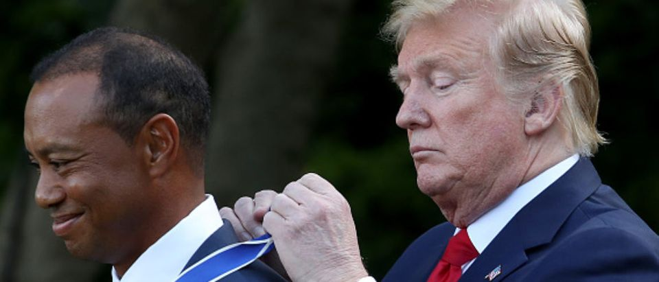 WASHINGTON, DC - MAY 06: U.S. President Donald Trump presents professional golfer and business partner Tiger Woods with the Medal of Freedom during a ceremony in the Rose Garden at the White House May 06, 2019 in Washington, DC. Trump announced he would give the nation's highest civilian honor to Woods, 43, in honor of his Masters victory last month.