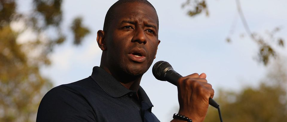 Florida Democratic gubernatorial nominee Andrew Gillum speaks to people as he stumps for votes on November 1, 2018 in Miami Gardens, Florida. (Joe Raedle/Getty Images)