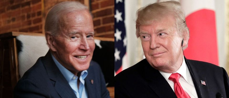 Former vice president Joe Biden (L) is viewed as one of the most likely candidates to face President Donald Trump in the 2020 general election. Spencer Platt/Getty Images and Kiyoshi Ota - Pool/Getty Images