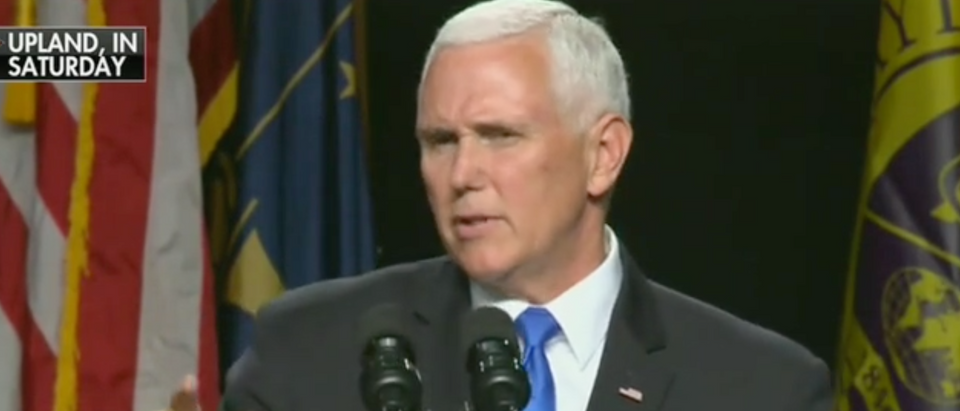 Vice President Pence speaks at Taylor University in Indiana. Screen Shot/Fox News