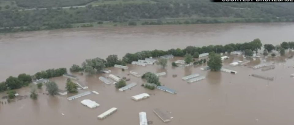 Drone footage shows flooding in Sand Springs, Oklahoma, in this screenshot from a video posted by the Associated Press on May 28, 2019. YouTube screenshot