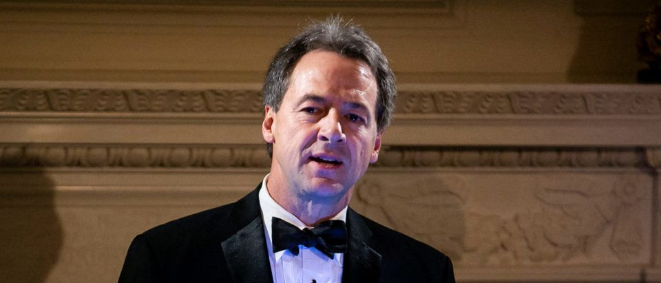 Montana Gov. Steve Bullock gives a toast at the Governors' Ball, in the State Dining Room of the White House, in Washington, U.S., February 24, 2019. REUTERS/Al Drago/File Photo