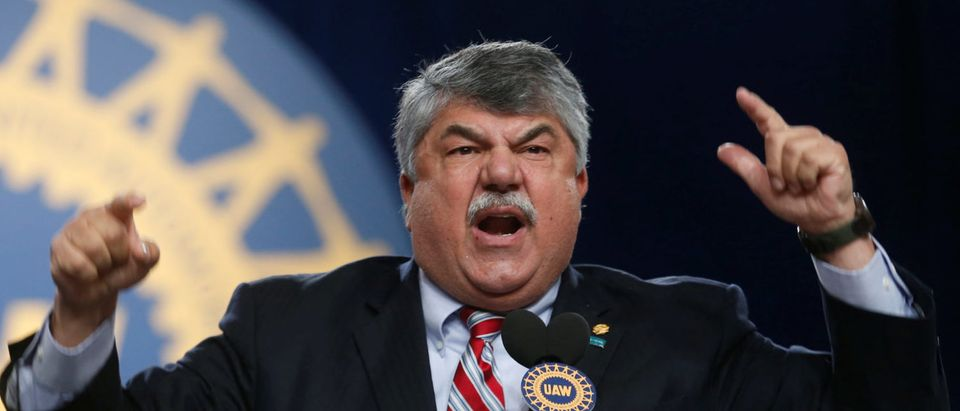 AFL-CIO union president Richard Trumka addresses the United Auto Workers union 37th Constitutional Convention in Detroit, Michigan, U.S. June 13, 2018. REUTERS/Rebecca Cook