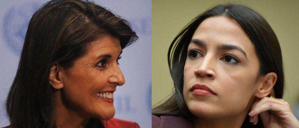 Left: Former U.N. Ambassador Nikki Haley Right: New York Rep. Alexandria Ocasio-Cortez (Both photos: Spencer Platt/Getty Images)