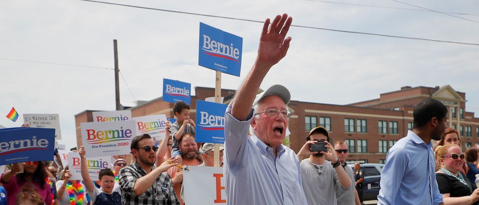 Democratic 2020 U.S. presidential candidate Sanders marches in the Nashua Pride Parade in Nashua