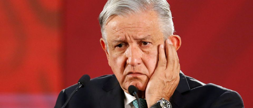 Mexico's President Andres Manuel Lopez Obrador gestures during a news conference at the National Palace in Mexico City, Mexico June 10, 2019. REUTERS/Gustavo Graf