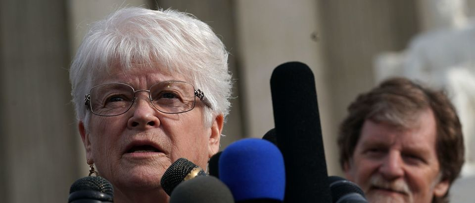 Floral artist Barronelle Stutzman (L) speaks to the media in front of the Supreme Court on December 5, 2017. (Alex Wong/Getty Images)