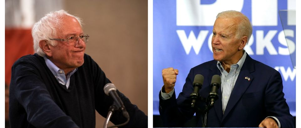 Vermont Sen. Bernie Sanders is slated to go up in a debate against the only Democratic opponent who has consistently been polling ahead of him, former Vice President Joe Biden. LEFT: Stephen Maturen/Getty Images RIGHT: Joshua Lott/Getty Images