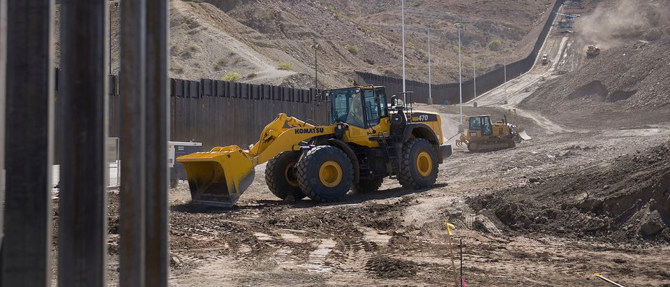 Construction crews work on a border wall on June 01, 2019 in Sunland Park, New Mexico. (Joe Raedle/Getty Images)