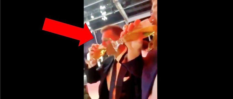 Tom Brady Beer (Credit: Screenshot/Twitter Video https://twitter.com/patriotssbliii/status/1136817752214257664/video/1)