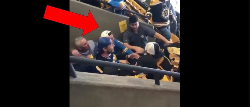 Bruins and Blues Fans Fight (Credit: Screenshot/Twitter Video https://twitter.com/barstoolsports/status/1136834283967000577?s=21)