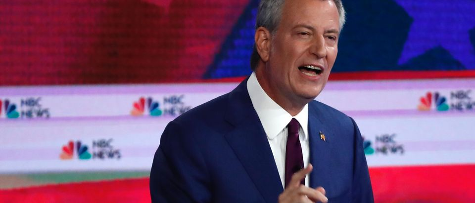 New York City Mayor Bill de Blasio speaks at the first U.S. 2020 presidential election Democratic candidates debate in Miami, Florida, U.S.,