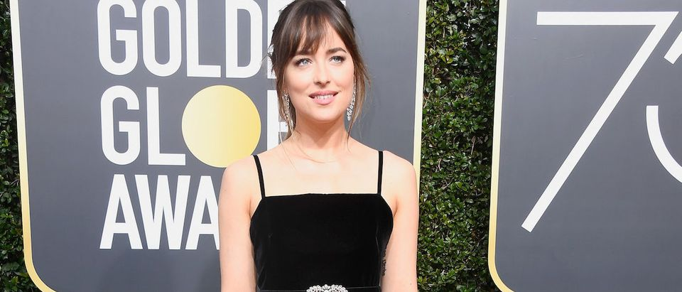 Actor Dakota Johnson attends The 75th Annual Golden Globe Awards at The Beverly Hilton Hotel on January 7, 2018 in Beverly Hills, California. (Photo by Frazer Harrison/Getty Images)