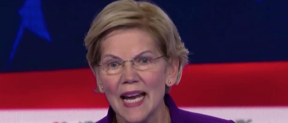 Senator Elizabeth Warren at Democratic Debates June 26, 2019. Photo screenshot.