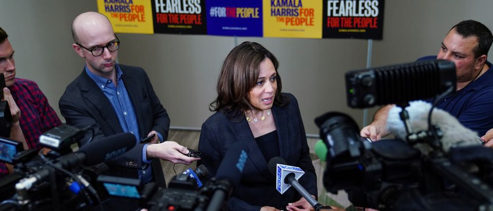 Democratic presidential candidate and U.S. Senator Kamala Harris speaks to the press following a meet and greet for women voters in Birmingham REUTERS/Elijah Nouvelage - RC1637396CA0