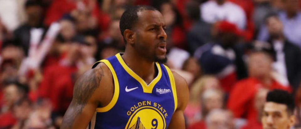 TORONTO, ONTARIO - JUNE 02: Andre Iguodala #9 of the Golden State Warriors celebrates a basket late in the game against the Toronto Raptors during Game Two of the 2019 NBA Finals at Scotiabank Arena on June 02, 2019 in Toronto, Canada. (Photo by Gregory Shamus/Getty Images)