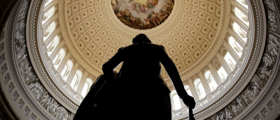 A statue of George Washington stands in U.S. Capitol Rotunda in Washington