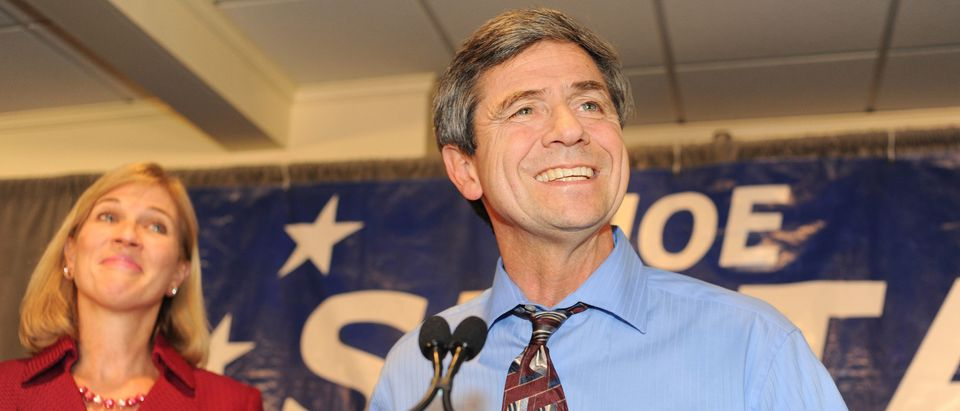 ST. DAVID'S, PA - NOVEMBER 2: U.S. Rep. Joe Sestak, standing onstage with his wife Susan and daughter Alex, concedes the Pennsylvania Senate race to Republican Pat Toomey November 3, 2010 at the Radnor Hotel in St. Davids, Pennsylvania. With 91 percent of the vote counted, Toomey led Sestak 51 percent to 49 percent. (Photo by William Thomas Cain/Getty Images)