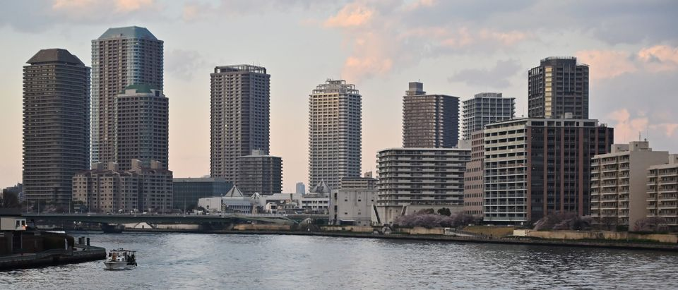 The skyline of Tokyo's Tsukuda neighorhood. March 31, 2019. (Photo by CHARLY TRIBALLEAU / AFP) (Photo credit should read CHARLY TRIBALLEAU/AFP/Getty Images)