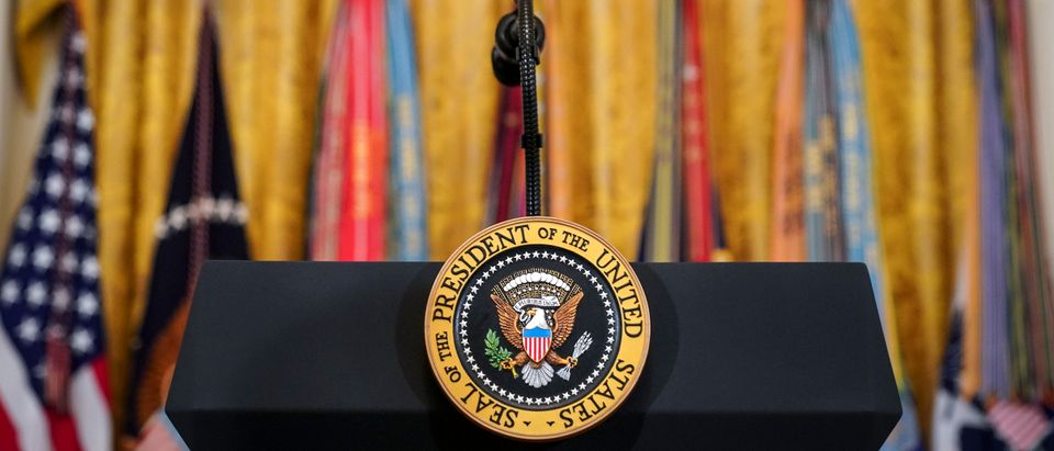 A podium with the presidential seal stands in the East Room of the White House, April 18, 2019 in Washington, DC. (Photo: Drew Angerer/Getty Images)