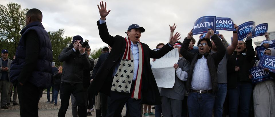 WASHINGTON, DC - APRIL 15: Democratic U.S. presidential hopeful Andrew Yang arrives at a campaign rally at the Lincoln Memorial April 15, 2019 in Washington, DC. One of Yang's major campaign promises is a universal basic income proposal to give every American 18 years and older $1,000 every month. (Photo by Alex Wong/Getty Images)