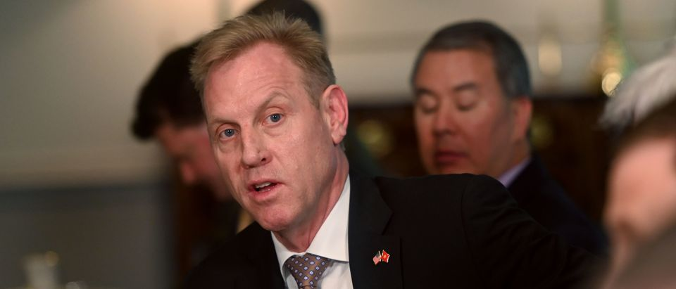 Acting US Secretary of Defense Patrick Shanahan speaks during a meeting with Vietnamese Deputy Prime Minister and Foreign Minister Pham Binh Minh at the Pentagon in Washington, DC, on May 23, 2019. (ANDREW CABALLERO-REYNOLDS/AFP/Getty Images)