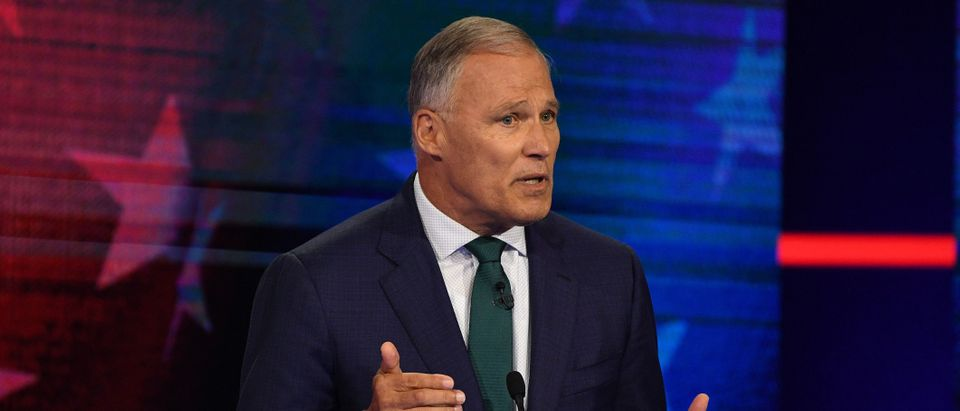 Democratic presidential hopeful Governor of Washington Jay Inslee speaks during the first Democratic primary debate of the 2020 presidential campaign season hosted by NBC News at the Adrienne Arsht Center for the Performing Arts in Miami, Florida, June 26, 2019. (Photo by JIM WATSON / AFP) (Photo credit should read JIM WATSON/AFP/Getty Images)