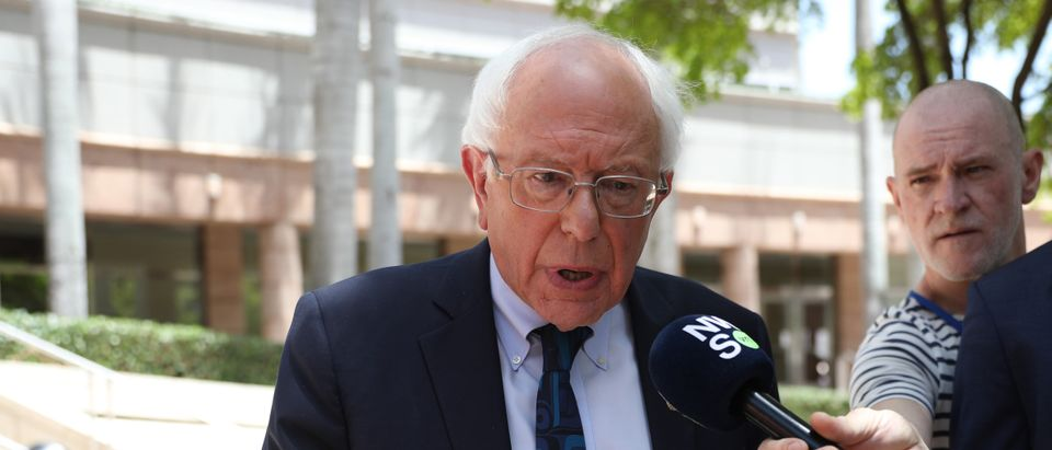 MIAMI, FLORIDA - JUNE 26: Democratic presidential candidate Sen. Bernie Sanders leaves the Knight Concert Hall of the Adrienne Arsht Center for the Performing Arts of Miami-Dade County June 26, 2019 in Miami, Florida. A field of 20 Democratic presidential candidates was split into two groups of 10 for the first debate of the 2020 election, taking place over two nights at Knight Concert Hall of the Adrienne Arsht Center for the Performing Arts of Miami-Dade County, hosted by NBC News, MSNBC, and Telemundo. Sen. Sanders is participating in the second night's debate. (Photo by Joe Raedle/Getty Images)