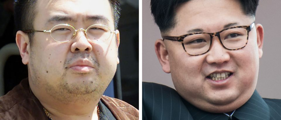 This combo shows a file photo (L) taken on May 4, 2001 of a man believed to be Kim Jong-Nam, son of the late-North Korean leader Kim Jong-Il, getting off a bus to board an All Nippon Airways plane at Narita airport near Tokyo and a file photo (R) of his half-brother, current North Korean leader Kim Jong-Un. (TOSHIFUMI KITAMURA,ED JONES/AFP/Getty Images)