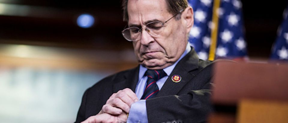 House Judiciary Committee Chairman Rep. Jerry Nadler (D-NY) departs after speaking during a news conference on April 9, 2019 in Washington, DC